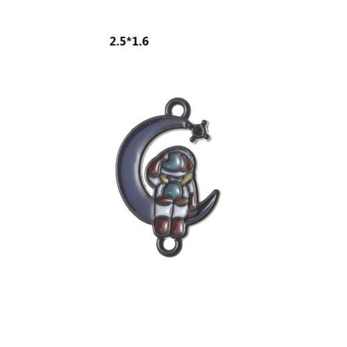 10Pc negro blanco esmalte Daisy Cactus astronauta Encantos Colgante HAZLO TÚ MISMO Joyería Haciendo