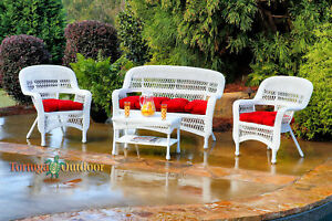 Details About 4 Piece White Wicker Patio Furniture Set Outdoor Weather Red Fabric Cushions