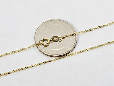 """10K 18/"""" Inch 1mm SOLID YELLOW GOLD SINGAPORE ROPE TWIST CHAIN PENDANT NECKLACE"""