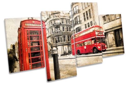 Rétro London City Vintage Grunge Multi Toile Mur Art Image Print