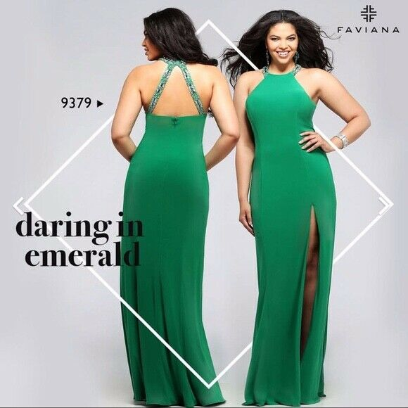 NWT Faviana Style 9379 High Neck Beaded Halter Gown with Slit Emerald Größe 14W