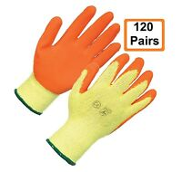 120 X Pairs Latex Coated Orange Rubber Work Gloves Builder Gardening Safety Grip