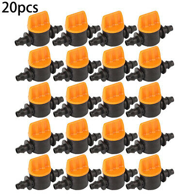 20Pcs Garden Water Mini Valve Hose Irrigation Barbed Watering System Connector