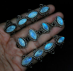New Marquoise Pcs Lot Natural Moonstone Gemstone 925 Sterling Solid Silver Rings