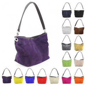 da8689699afe Womens Leather Italy Real Suede Zip Small Tote Hobo Handbag Shopper ...