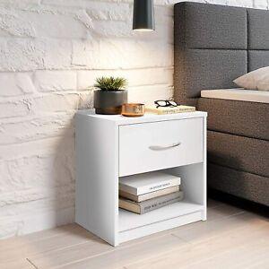 Mobile Comodino in legno cassetto bianco, Elegante arredo per la camera
