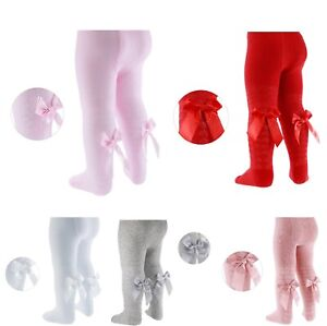 Infants Girls Cotton Rich Tights With Ribbon Bow Nb//24 Months
