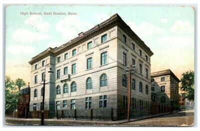 1908 Old East Boston, MA, High School Postcard NOW SECTION ...