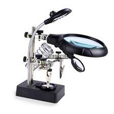 Helping Hand Soldering Stand With LED Light Magnifier Magnifying Glass+3Lens New