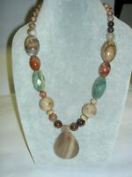 Hsn Jay King Dtr Sterling Silver Chunky Lace Agate Beads Pendant Necklace