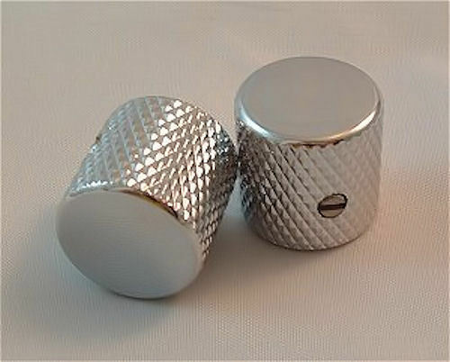 Guitar KNOBS - Metal FLAT TOP Knurled Barrel - Set of 2 - CHROME