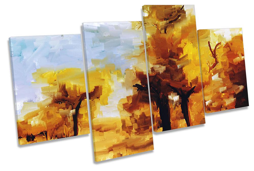 Golden Orange Forest Scene MULTI CANVAS WALL ARTWORK Print Art