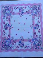 "Vintage 50's Cotton TABLECLOTH Floral Fuchsia 45"" X 50"""