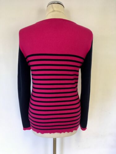 Ralph Long amp; Size Lauren L Cotton Stripe Hot Pink Jumper Sleeve Navy wgCAqw