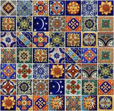 "25 Mexican Talavera  TIiles 2x2/""  Folk Art Handmade 2-19"