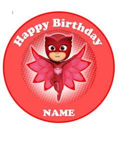 Red PJ Masks personalised edible Image cake topper real edible icing 19cm #134