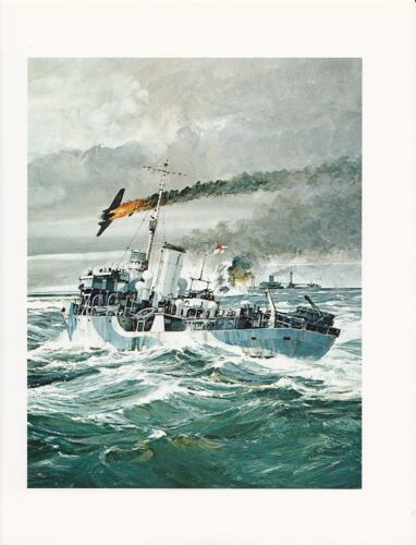"1976 Marine Color Plate /""Details Three Corvettes/"" Chris Mayger WAR SHIP PRINT"