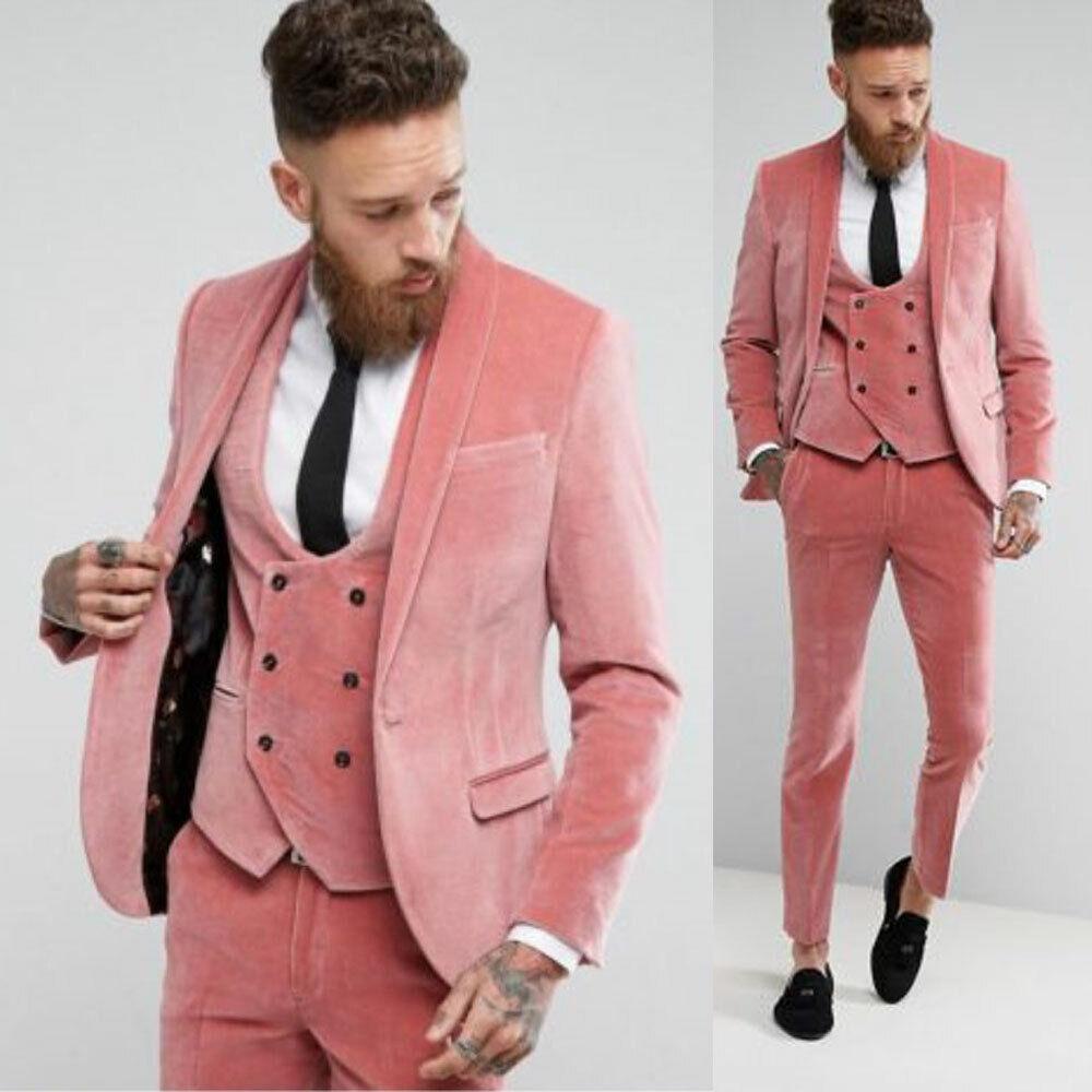 rose velours Groom mariage Suits Double-breasted dévolu smokings Slim Formal Wear +