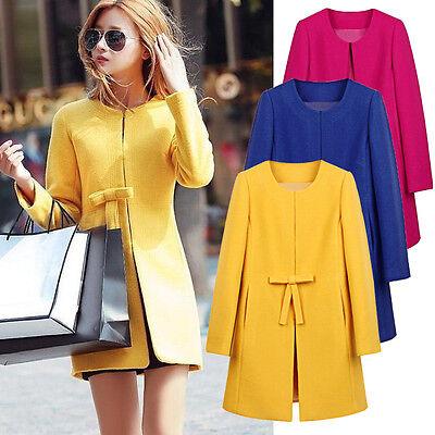 Fashion Women Peacoat Wool Blend Coat Jacket Parka Trench Solid Cardigan Outwear