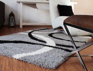 teppich hochflor shaggy linien muster grau schwarz weiss ebay. Black Bedroom Furniture Sets. Home Design Ideas