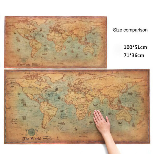 Large Paper World Map.The Old World Map Large Vintage Style Retro Paper Poster Home Decor