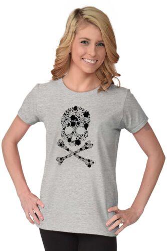 Flowery Skull And Crossbones Floral Rebel Womens Tees Shirts Ladies Tshirts