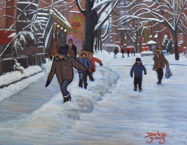 Le Plateau Kids, Prince Arthur, 8x10, egg tempera, Darlene Young Canadian Artist