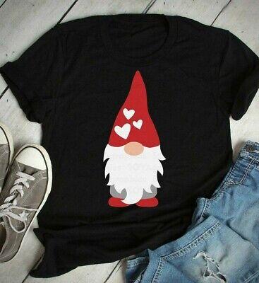 HUIHAIXIANGBAO Valentines Day Shirt for Womens Cute Gnomes T-Shirt Love Heart Print Shirts Short Sleeve Graphic Tees Tops