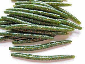 "40 pk 5/"" Senko style SCENT,SALT Soft Plastic Worms WATERMELON COPPER GREEN"