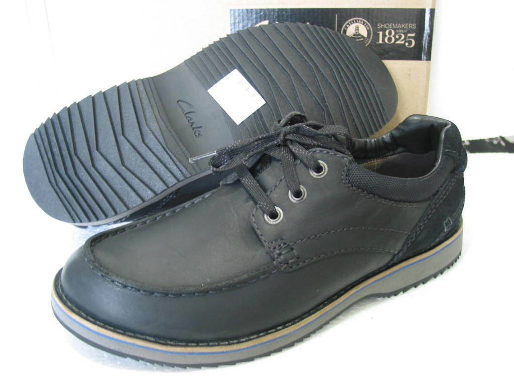 NEW CLARKS MAHALE EDGE BLACK LEATHER SHOES VARIOUS SIZES