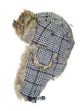 NWT MEN WOMEN WARM FAUX FUR EAR FLAP RUSSIAN AVIATOR TROOPER BOMBER Hat PLAID