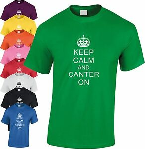 Keep-Calm-And-Canter-On-Enfants-T-Shirt-Jeunesse-Tee-Jockey-Cheval-Poney-Riding