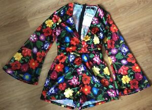 b95db78dce7 BNWT Missguided Floral Playsuit Size 8 Flare Sleeve Rose Night Out ...