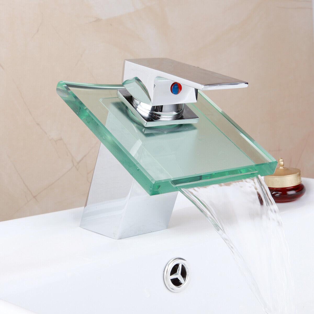 Bathroom Tall Chrome Glass Waterfall Spout Basin Faucet Vessel Sink Mixer Tap
