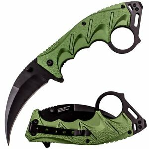 "8"" Spring Assisted Opening Tactical Karambit Folding Pocket Knife EDC Green"