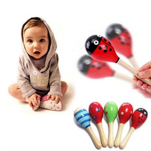 Cute Baby Kids Sound Music Gift Toddler Rattle Musical Wooden Colorful Toys TB