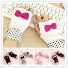 New Women Fashion knitted Mittens Cute Bowknot Fingerless Wrist Gloves Warm Hand