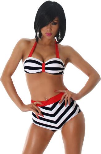 Bikini Damen Badeanzug Bademode Neckholder Push-Up Haigh Waist