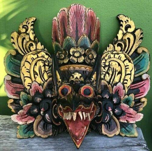Mask Hindu Garuda Dragon Tiki Eagle Buddha Wood Carved Hand Painted Decor Barong