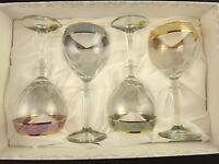 4 Piece Multi Color Rim Wine Glasses Set Cristalleria Fratelli Fumo Italian