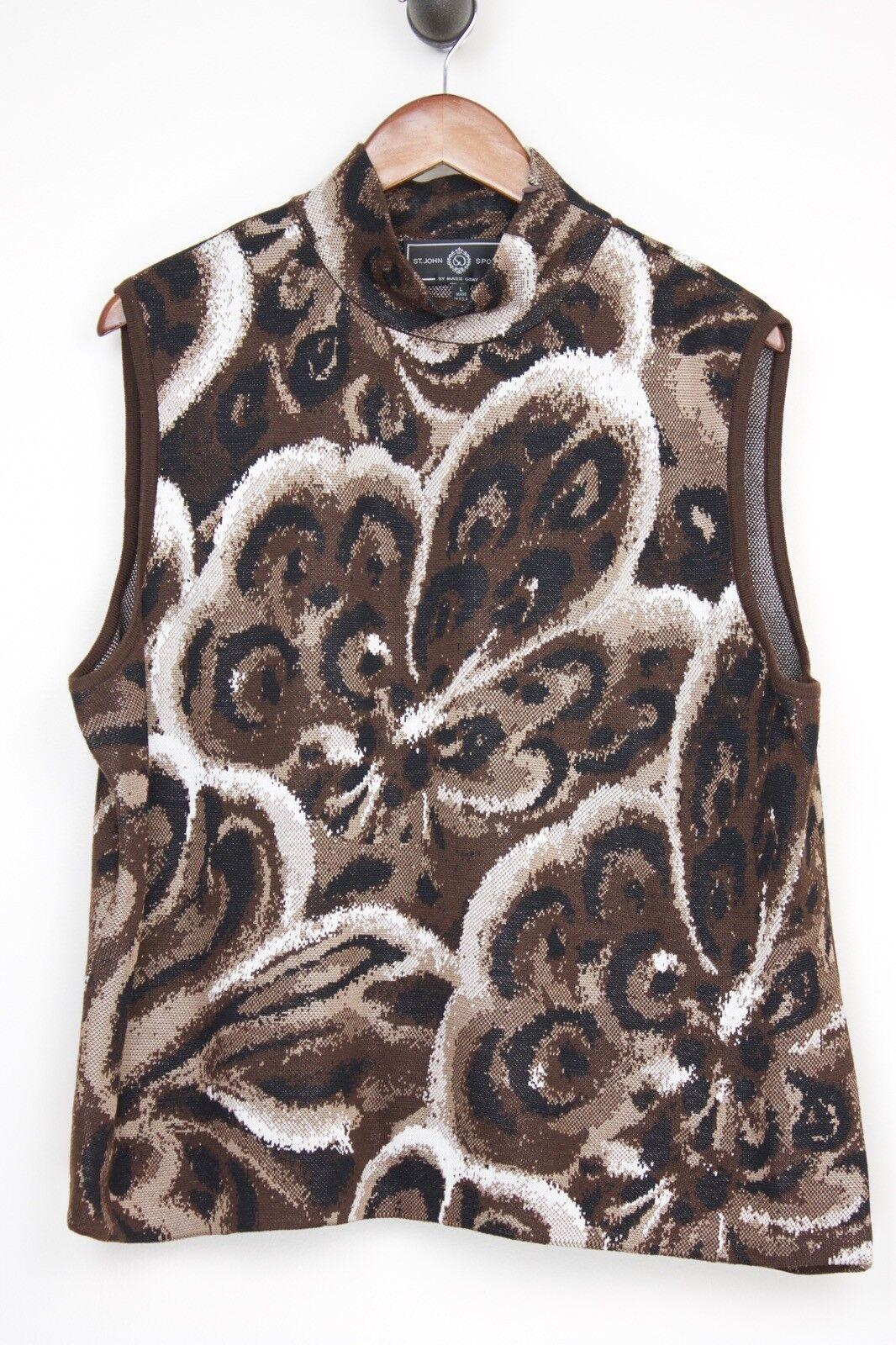 St John Sport  Knit Moc Camiseta sin mangas de cuello L marrón Floral Mezcla De Lana Hecho en EE. UU.  precios ultra bajos