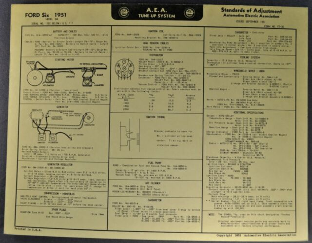 1951 Ford Six Tune Up Chart Wiring Diagram Tudor Fordor ...