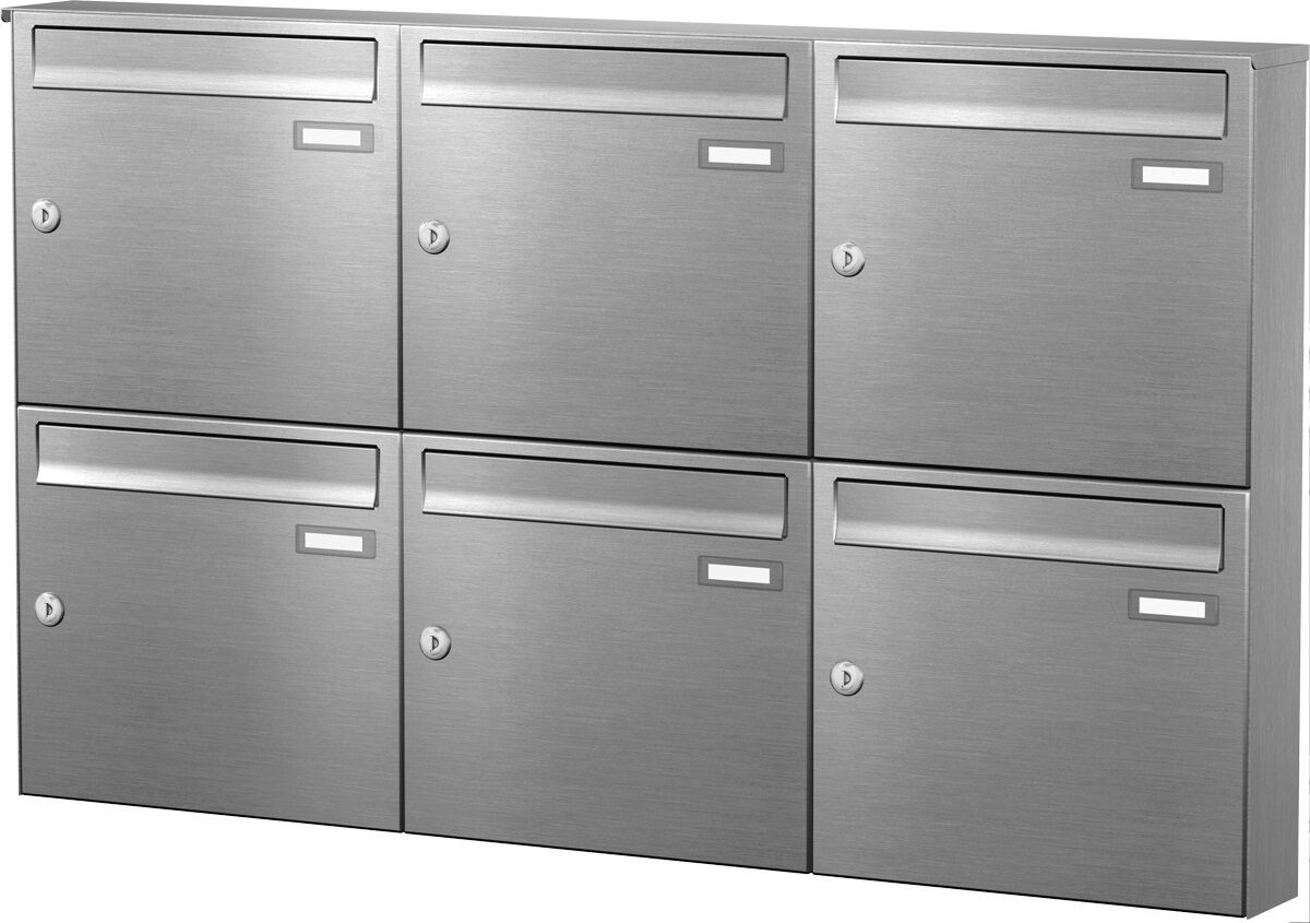 Aufputz Briefkastenanlage 6 er Postkasten System Wandmontage Edelstahl APH116-VA