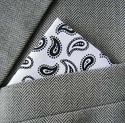SUPERNOVA Black /& Blue Paisley Pocket Square Handkerchief Scooter Mod Indie