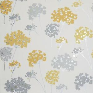 Details About Arthouse Anya Floral Metallic Wallpaper Ochre Yellow Grey Silver Gold Flowers