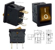 Beleuchteter 12V Wippschalter gelb / orange, 21x15mm, EIN-AUS Schalter SPST #20E