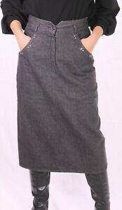 CT70-Jeans-Rock-Gr-40-schwarz-midi-wadenlang-high-waist-Strasssteine-ungetragen
