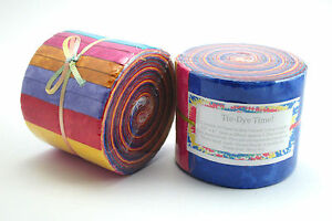 Tie-Dye-Time-20-Hand-Rolled-Jelly-Roll-Strips-Fabric-Rolls-2-5-034-x-42-034