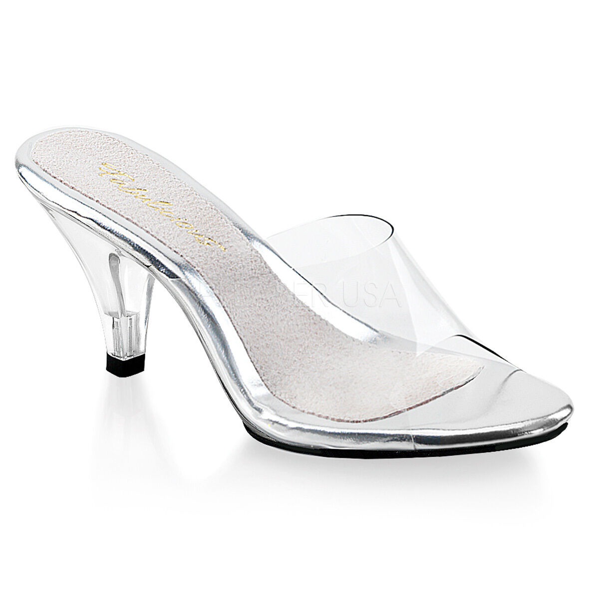 PLEASER FABULICIOUS BELLE-301 CLEAR STILETTO HEEL HEEL HEEL MULES chaussures 8cd77b