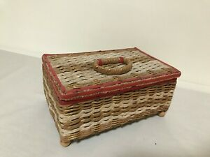 Red and Brown Mid Century Woven Wicker with Plastic Details Red Lined Sewing Basket with Vintage Sewing Supplies